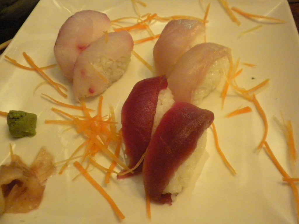 Clockwise from top left: Marlin, Mahi-Mahi, and Tuna nigiri