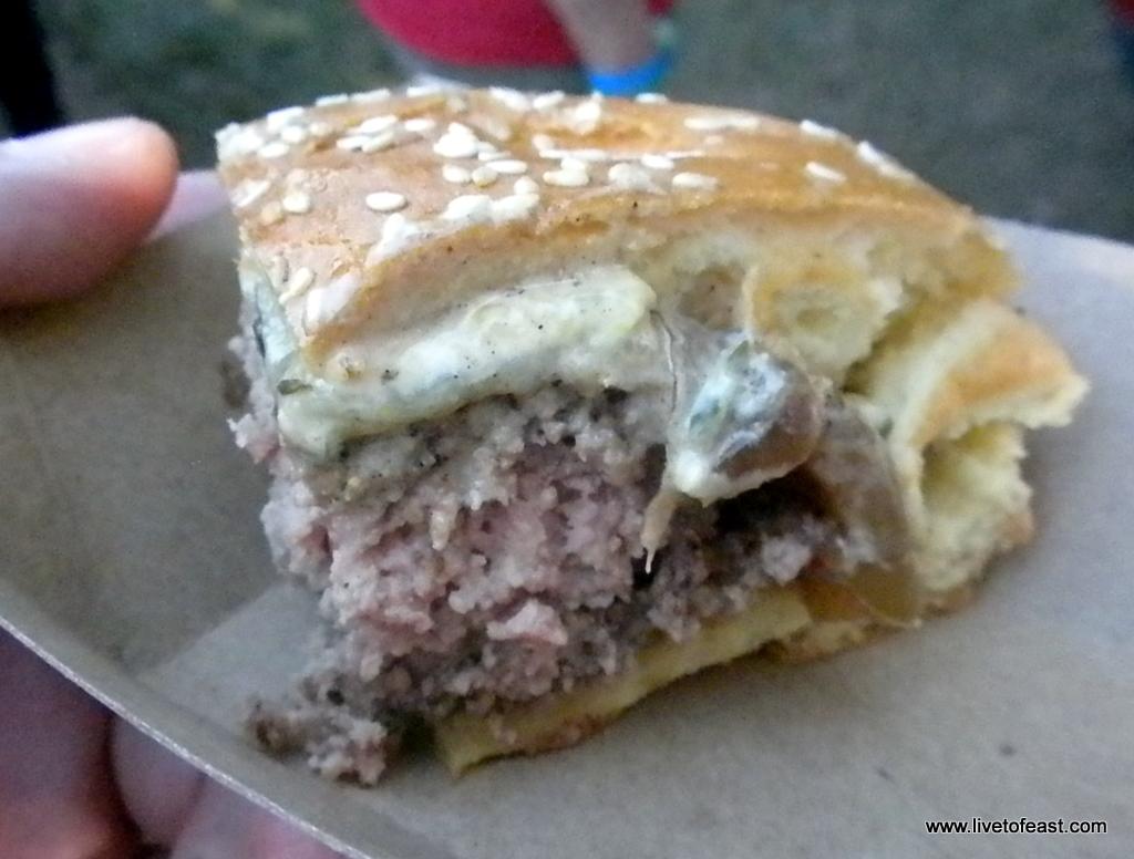 Farm Burger's Battle of The Burgers entry - Grafton cheese, carmelized onion, Farm Burger sauce, and bacon