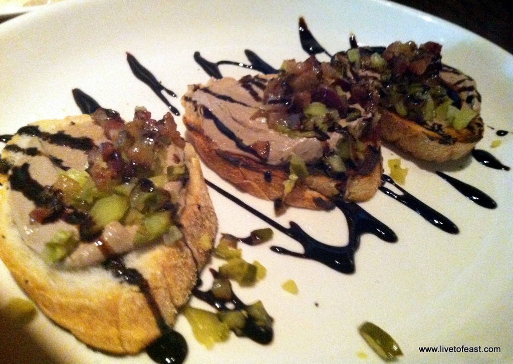 Chicken Liver Toast w/ Pickled Relish and Bacon - Rosebud
